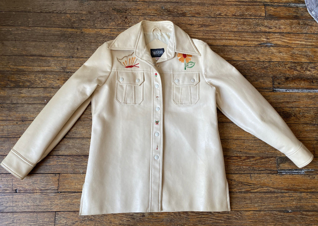 Vintage Marjone Cream Vegan Leather Snap Button Shirt