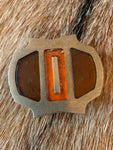 70's Orange and Brown Inlay Belt Buckle