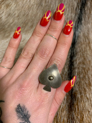 Handmade Silver Spade Ring From Athame Jewels