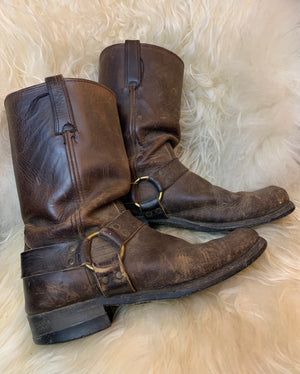 Brown Distressed Frye 12R Harness Motorcycle Boots