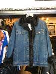 Dennis Basso Black Fur Lined Denim Jacket