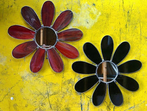 Red Daisy Stained Glass Mirror by Imaginary Mirrors