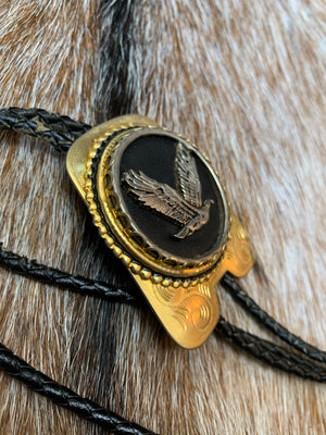 Large Black and Gold Eagle Bolo Tie