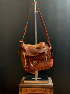 Vintage Handmade in Mexico Carved Tan Leather Saddle Shoulder Bag