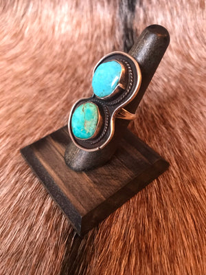 HUGE Double Turquoise Ring