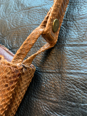 Vintage Brown Snakeskin Shoulder Bag
