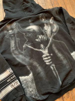 Early 2000's Prowling Death Records Celtic Frost To Mega Therion ZIp Up Hooded Sweatshirt
