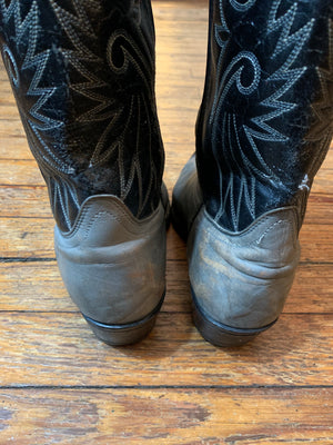 Vintage Black and Grey Western Cowboy Boots