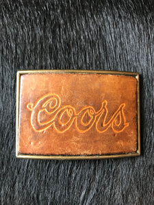 Vintage Leather Coors Belt Buckle