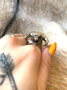 Large Sterling Plated Monster Biker Ring