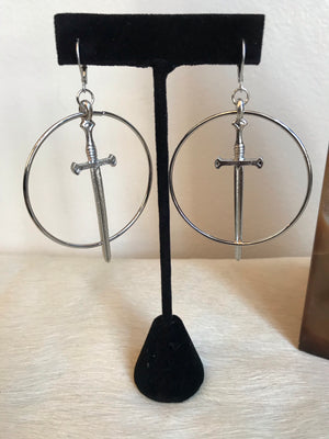 Hoop & Sword Earrings