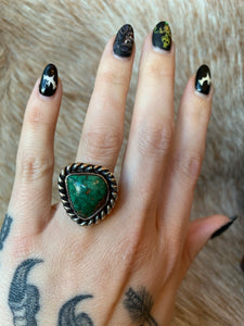 Vintage Double Rope Design Turquoise Ring
