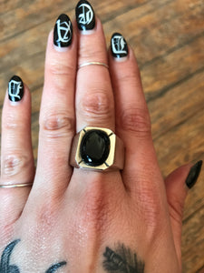 Sterling Onyx Signet Style Ring