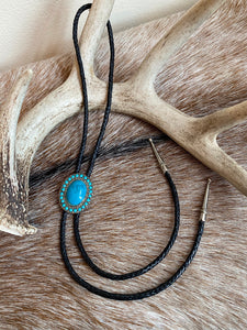 Faux Turquoise and Silver Bolo Tie
