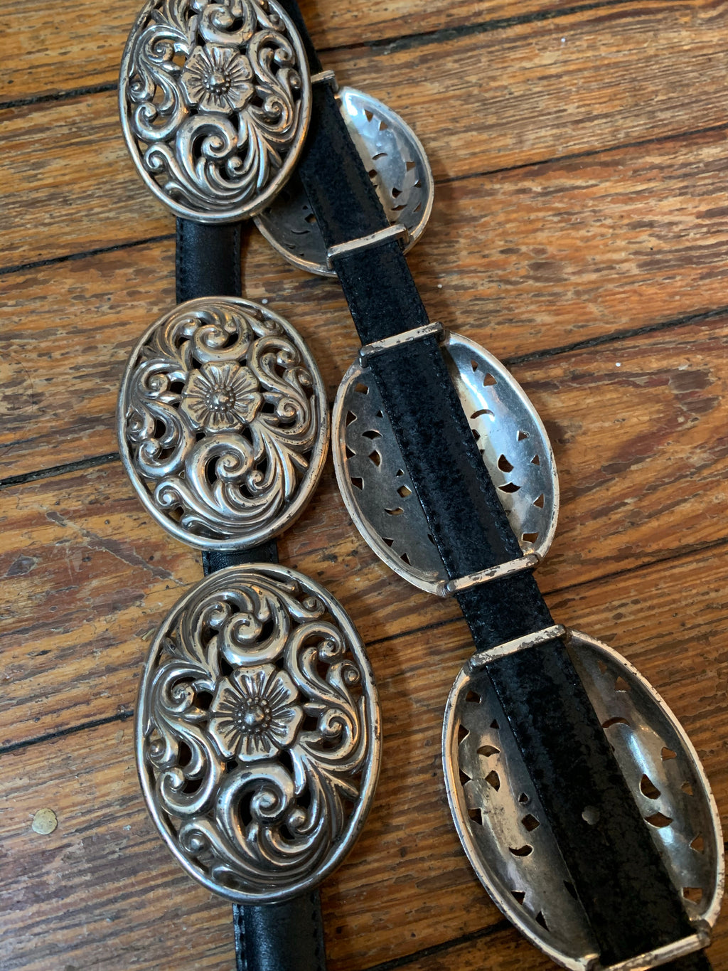Black Heavy Slot Leather Floral Concho Belt