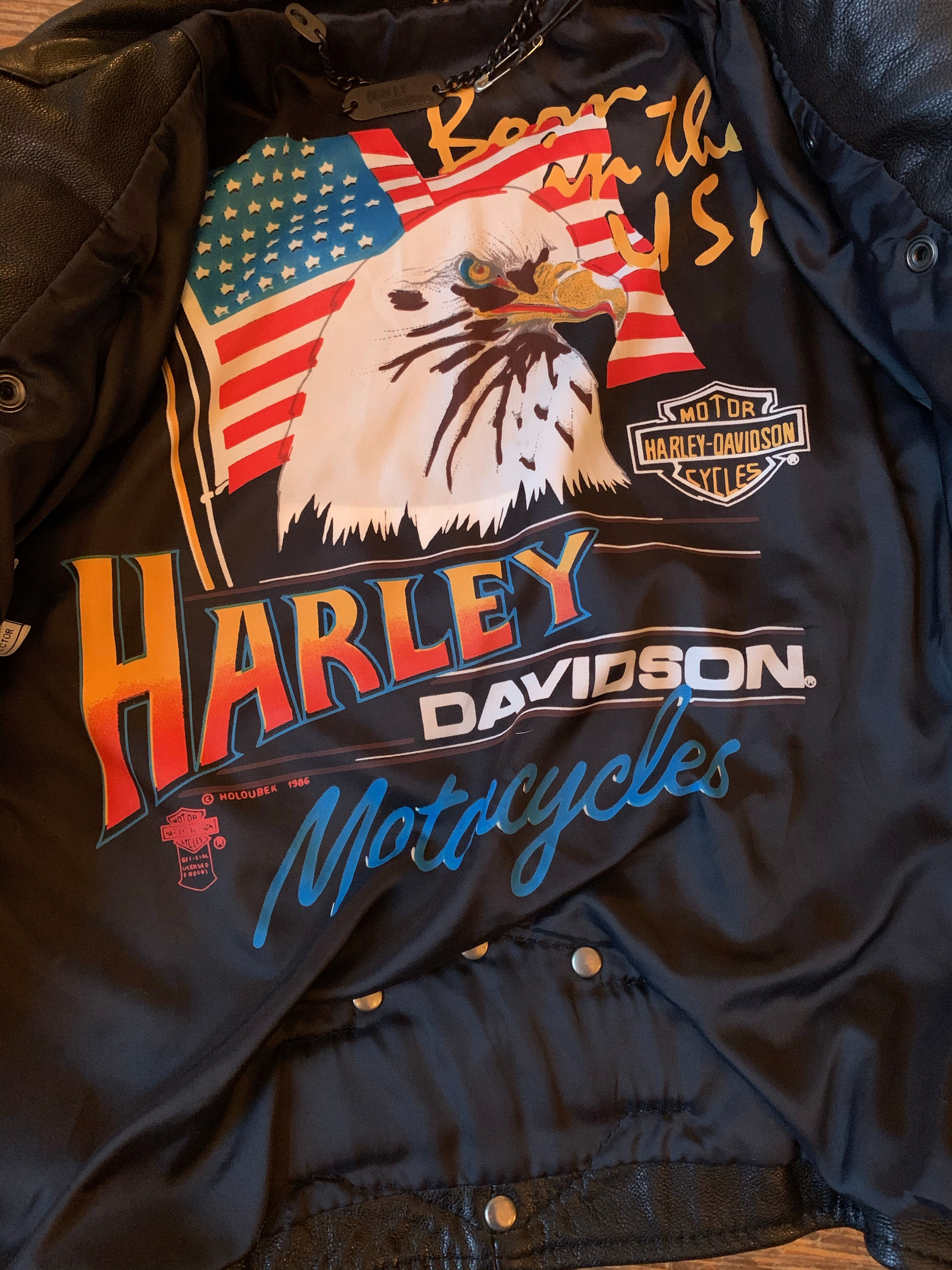 Rare Vintage Official Harley-Davidson Cropped Black Leather Motorcycle Jacket