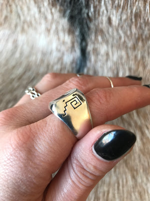 Sterling Plated G&S Wolf Ring
