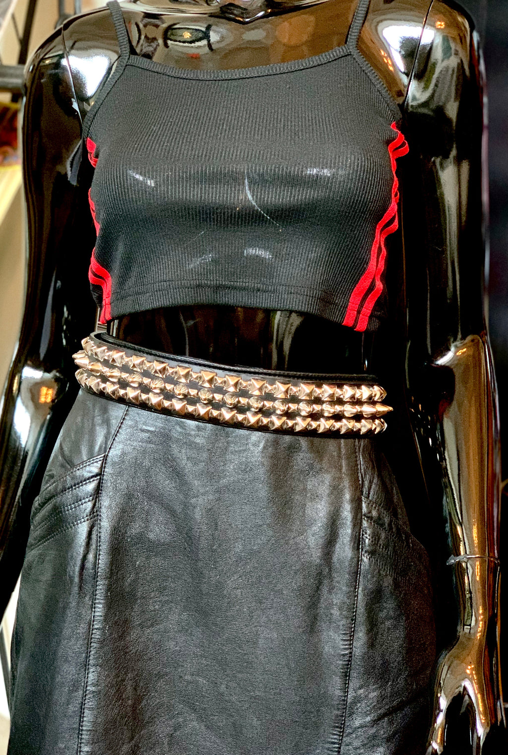 New Leather Pyramid and Tall Cone Studded Belt