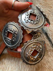 Brown Leather Brighton Ornate Concho Slot Belt