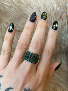 Vintage Dark Green Multi-Stone Turquoise Sterling Silver Ring