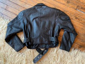 Vintage Leather Cropped Moto Jacket