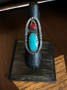 Oblong Coral and Turquoise Ring