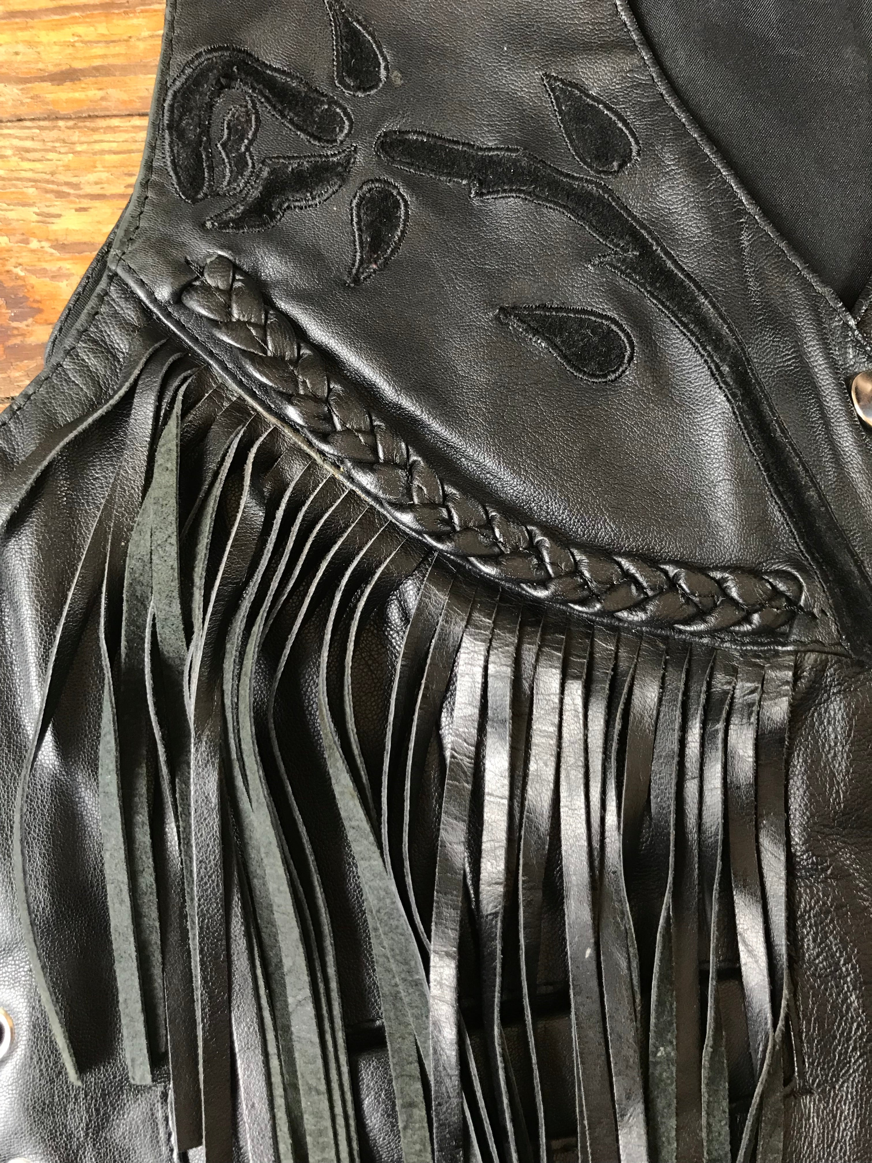 Black on Black Fringe Concho Vest