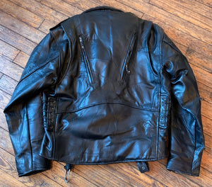 Diamond-Plate Black Patchwork Leather Motorcycle Jacket