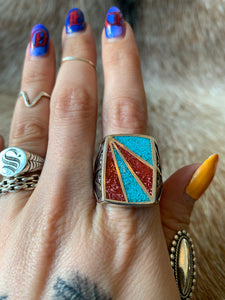 Vintage G&S Crushed Coral and Turquoise Southwest Ring