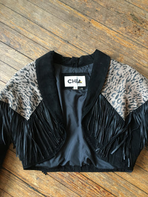 CHIA Leopard Print and Fringe Cropped Jacket