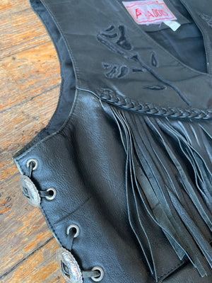Vintage Black on Black Leather Rose Concho Biker Vest