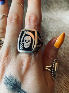 Vintage G&S Skull and Sickle Biker Ring