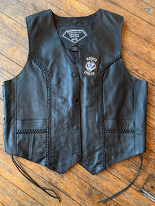 NWT Diamond Plate Black Leather Biker Vest