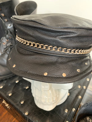 Vintage Studded Leather Chain Hat