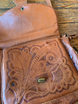 Vintage Brown Hand Tooled Decorative Shoulder Bag