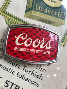 Vintage Red Coors Belt Buckle