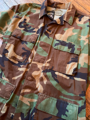 Vintage Military Camo Field Jacket w/ Harley-Davidson Patch