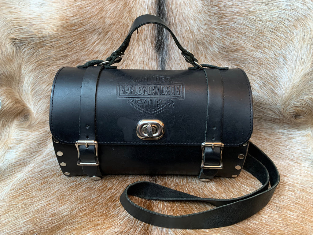 Harley-Davidson Black Leather Riveted Barrel Bag