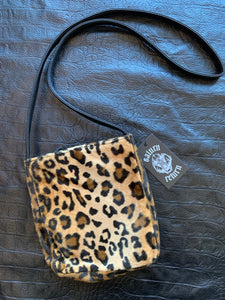 Vintage Nine West Faux Fur Leopard Print Shoulder Bag