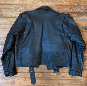 Vintage Silver Bike Black Leather Motorcycle Jacket