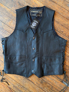 Vintage American Top Lace-Up Leather Biker Vest