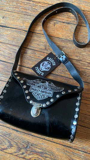 Vintage Harley-Davidson Black and Silver Logo Leather Studded Shoulder Bag