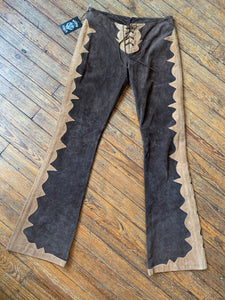 Vintage 70's Brown and Tan Suede Flare Pants