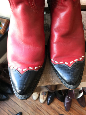 Vintage Red Black Tipped Boots