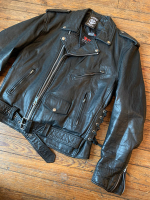 Vintage Event Leather Black Leather Motorcycle Jacket