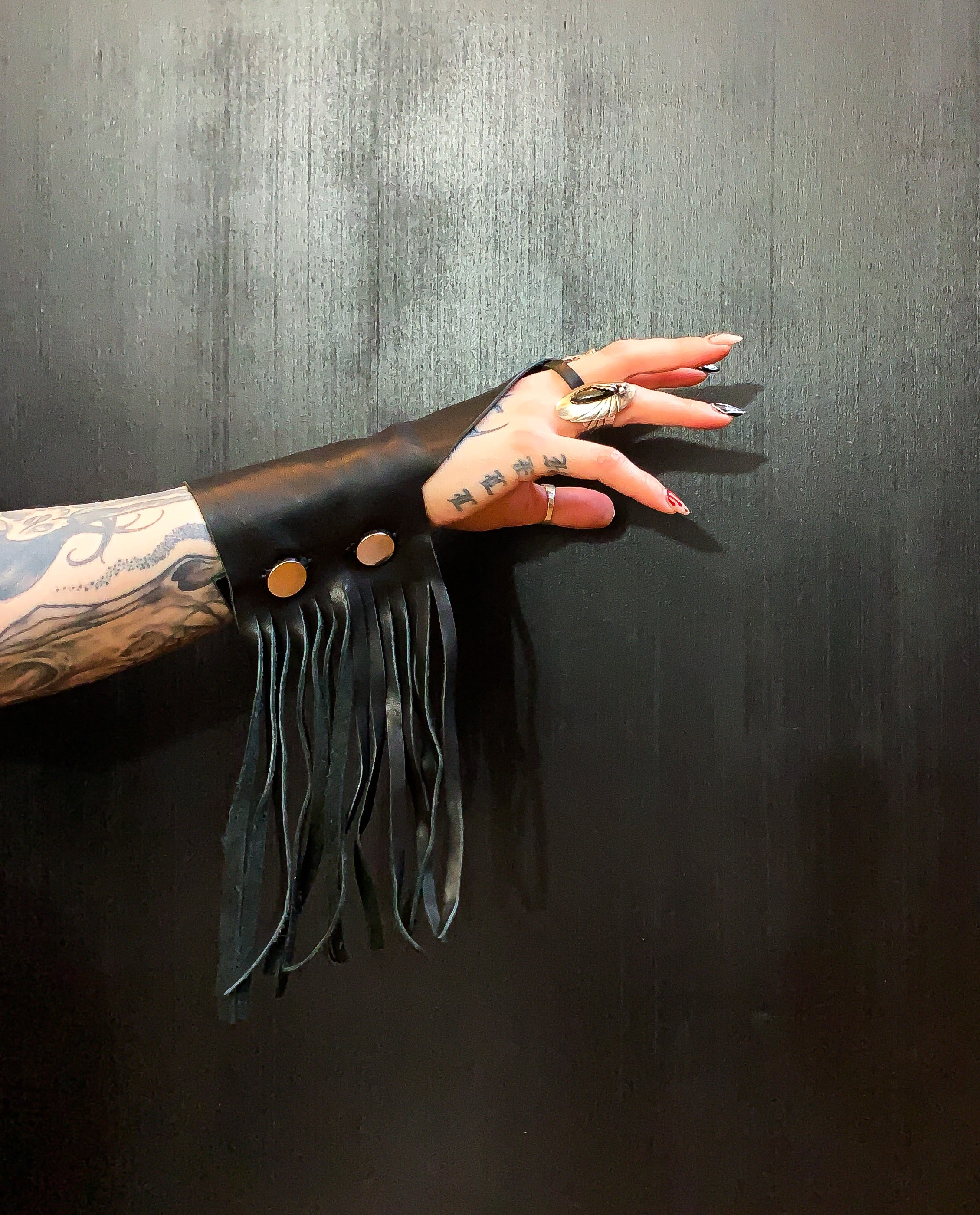 Midnite Leather Lemmy Inspired Fringe Finger Cuffs