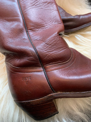 Worn In Frye Leather Cognac Color Cowboy Boots