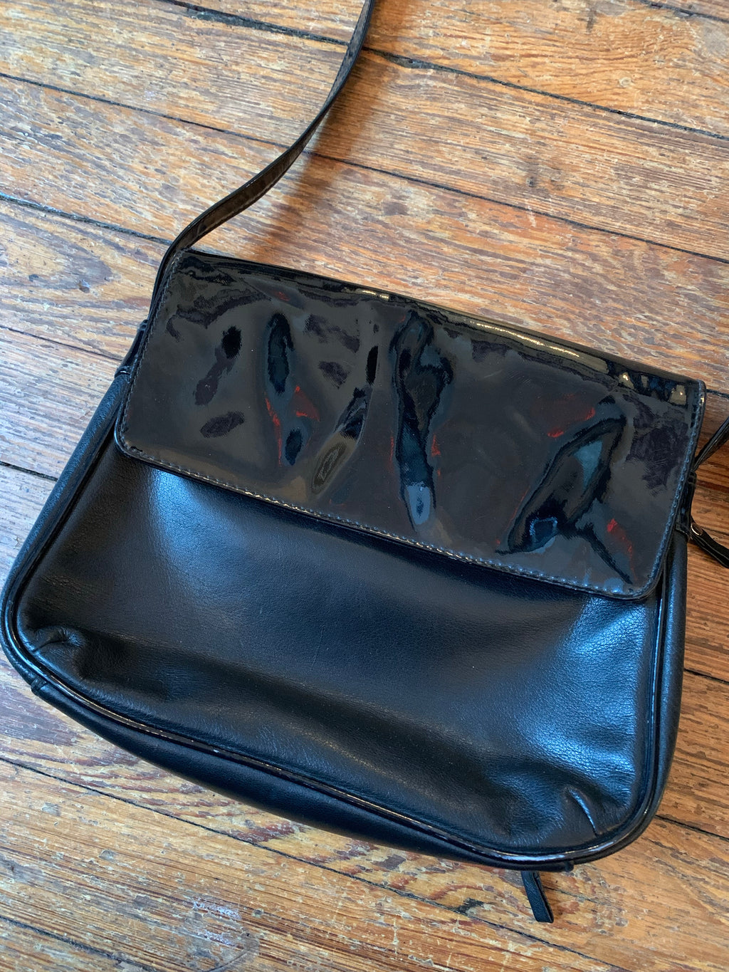 Vintage Black Leather and Patent Leather Adjustable Bag
