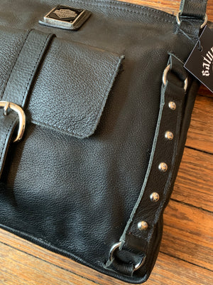 Harley-Davidson Large Black Studded Leather Shoulder Bag