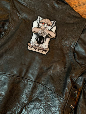 Interstate Leather Black Leather Motorcycle Jacket with Zip Out Liner & Gargoyle Patch